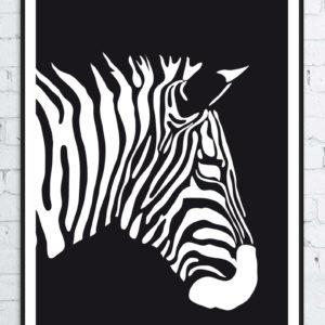 grafika wektorowa czarnobiała zebra papier powlekany w ramie