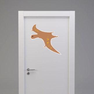 Naklejka na drzwi/meble DINOZAUR W LOCIE brązowy