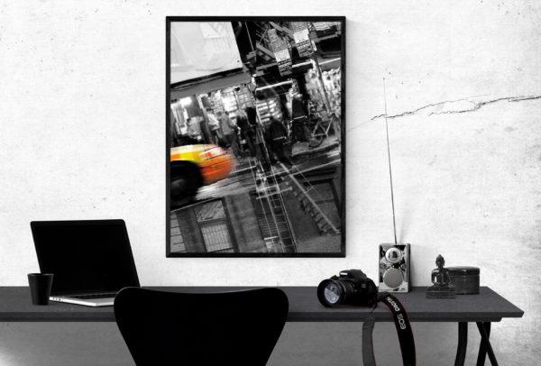 plakat na biurkiem duży format czarno-biały