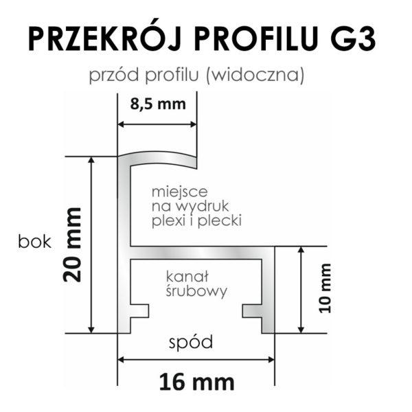 Rama aluminiowa kwadratowa ALU G3 PRZEKRÓJ